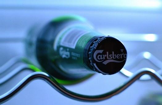 bouteille de bière, carlsberg, réfrigérateur